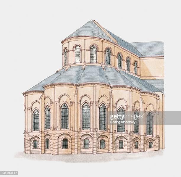 ilustrações de stock, clip art, desenhos animados e ícones de france, paris, basilica of st denis (st denis' abbey), apse - nicho