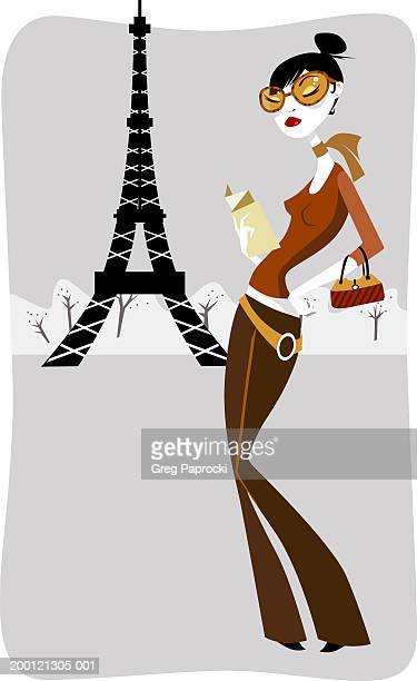 france, paris, tourist standing outside eiffel tower - updo stock illustrations, clip art, cartoons, & icons