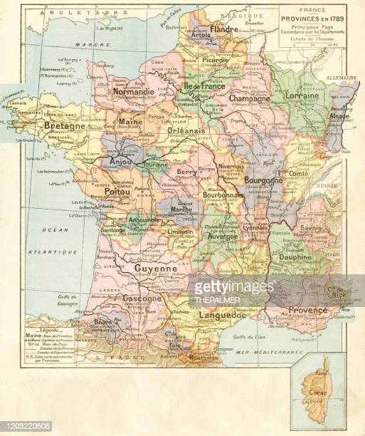 france provinces map 1887 - normandy stock illustrations