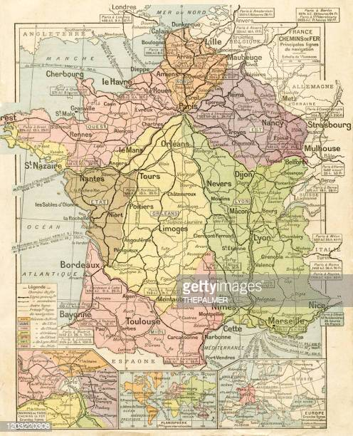 france railways system map 1887 - en búsqueda stock illustrations