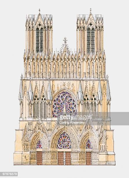 france, reims, cathedral of notre-dame, west facade - champagne region stock illustrations, clip art, cartoons, & icons