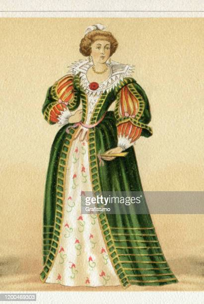 france royal woman in traditional clothing 1650 - 1600s stock illustrations
