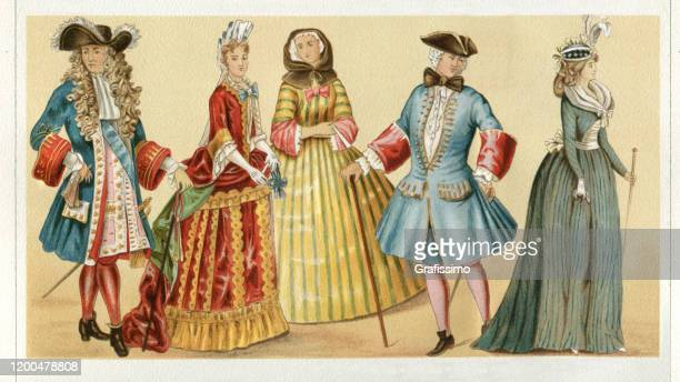 france traditional clothing louis xiv 17th century - 1600s stock illustrations