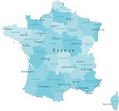 France Vector Map Regions Isolated