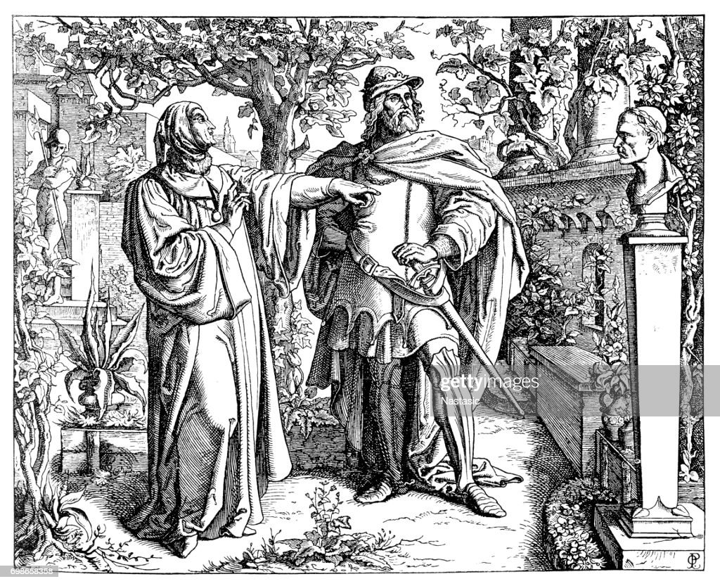 Francesco Petrarca and Charles IV - Holy Roman Emperor : stock illustration
