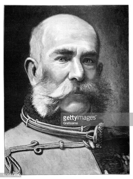 francis joseph i emperor of austria portrait 1899 - franz joseph i of austria stock illustrations