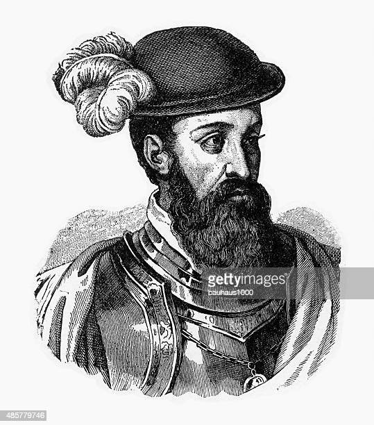 francisco pizarro, 1471-1541, engraving - seville stock illustrations, clip art, cartoons, & icons