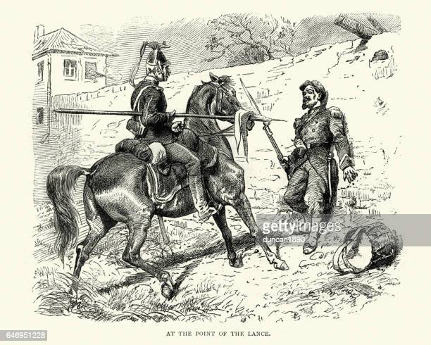 franco prussian at the point of the lance - german uhlan stock illustrations