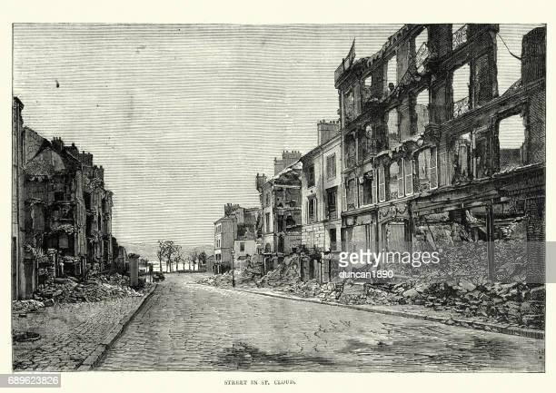 Franco Prussian War Destroyed street in Saint-Cloud, Paris