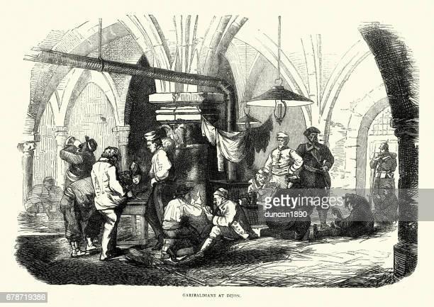 franco prussian war - garibaldians at dijon - dijon stock illustrations, clip art, cartoons, & icons