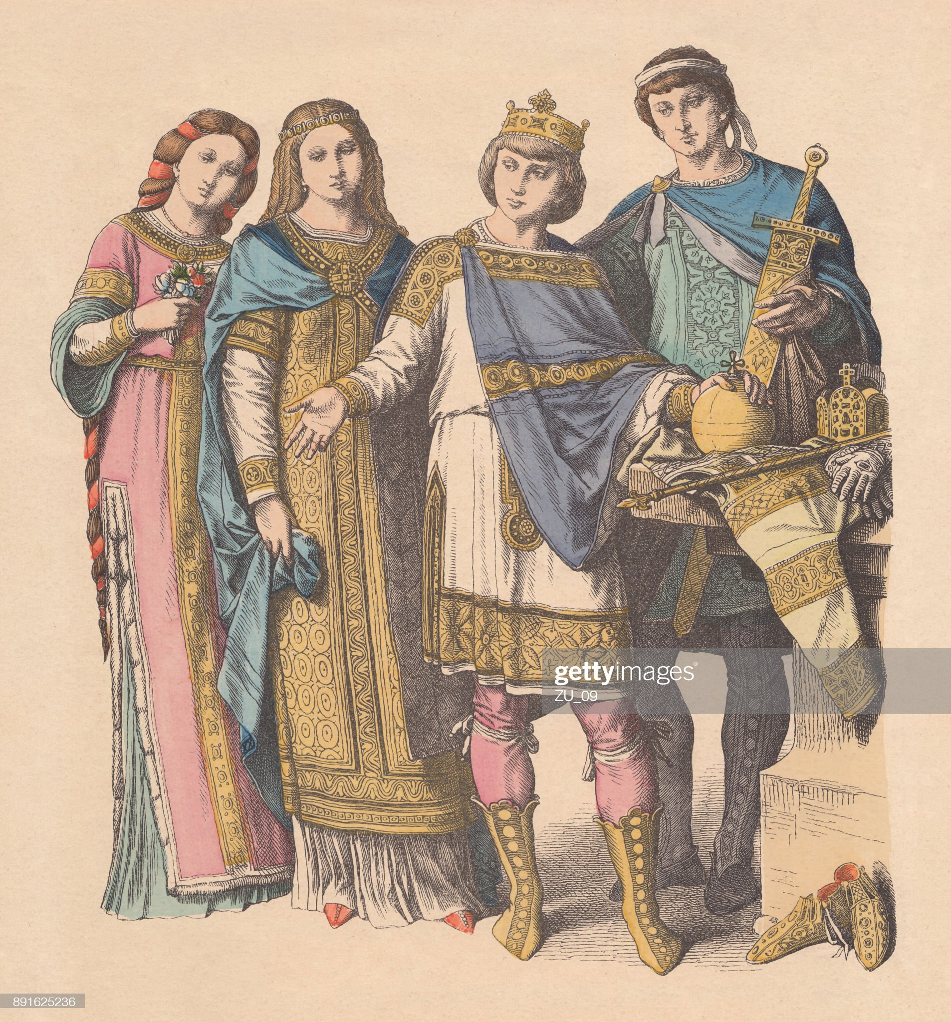 franconian-court-costumes-9th-and-10th-centuries-published-c-1880-illustration-id891625236