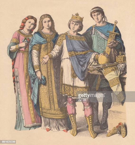 franconian court costumes, 9th and 10th centuries, published c. 1880 - medieval shoes stock illustrations