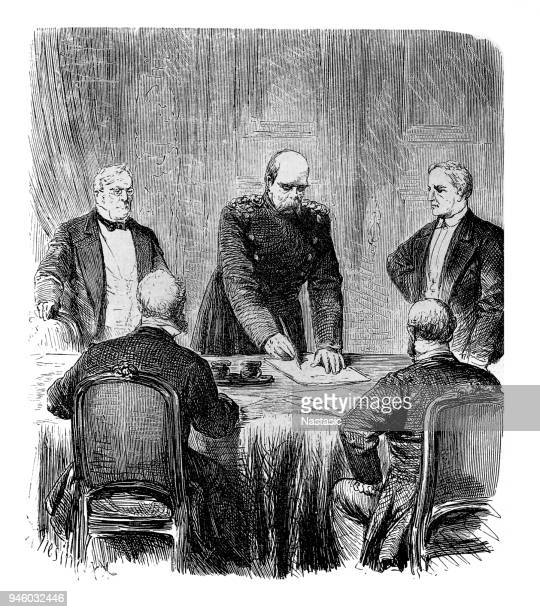 franco-prussian war 1870 - 1871, politics, treaty of versailles, 26.2.1871, signing by otto von bismarck - prince royal person stock illustrations