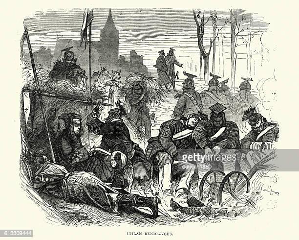 franco-prussian war prussian uhlan rendezvous - german uhlan stock illustrations