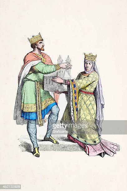 Frank king and queen traditional clothing from 10th century