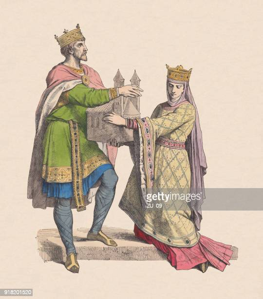 frankish king and queen, 10th century, hand-colored woodcut, published c.1880 - circa 10th century stock illustrations