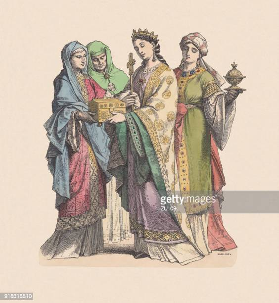 frankish noblewomen, 10th century, hand-colored wood engraving, puplished c. 1880 - circa 10th century stock illustrations