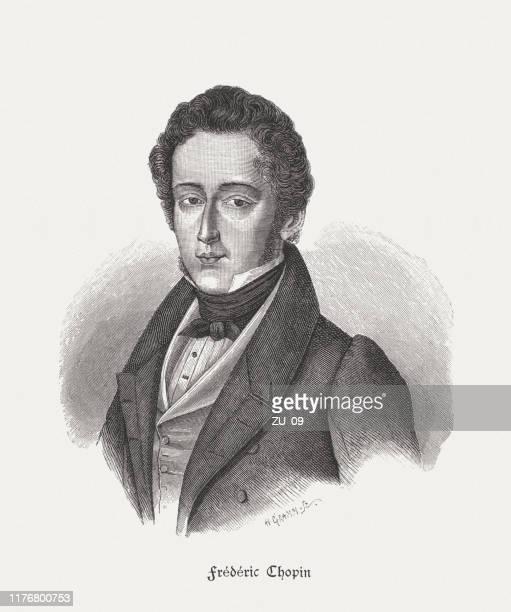 illustrations, cliparts, dessins animés et icônes de frédéric chopin (1810-1849), compositeur français-polonais, gravure sur bois, publié en 1885 - culture française