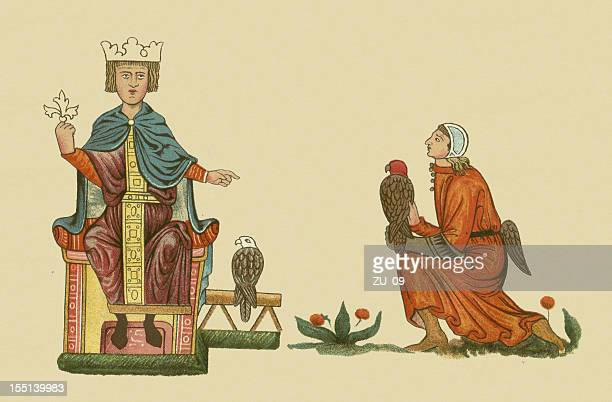 frederick ii (1194-1250) and his falconer, lithograph, published in 1880 - falconry stock illustrations