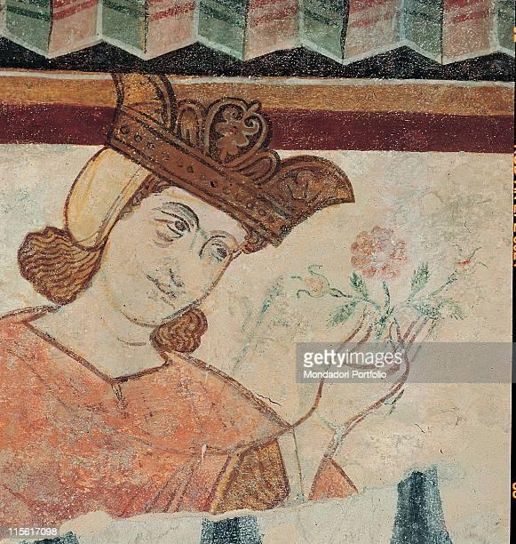 Italy; Veneto; Vicenza; Bassano del Grappa; Palazzo Finco. Detail face portrait emperor Frederick II crown pink orange
