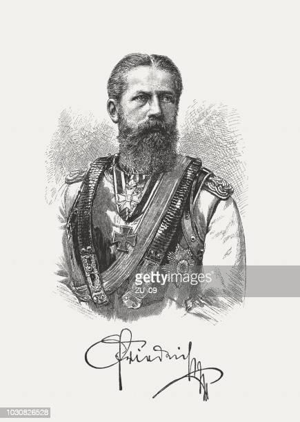 ilustrações, clipart, desenhos animados e ícones de frederico iii (1831-1888), imperador alemão, rei da prússia, publicou 1888 - assinatura