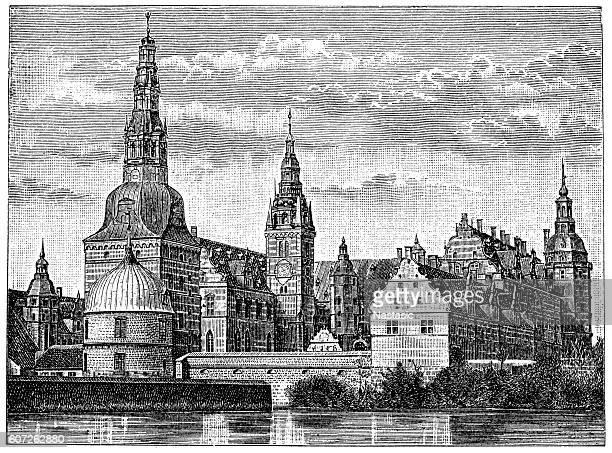 frederiksborg castle, hillerod, denmark - danish culture stock illustrations
