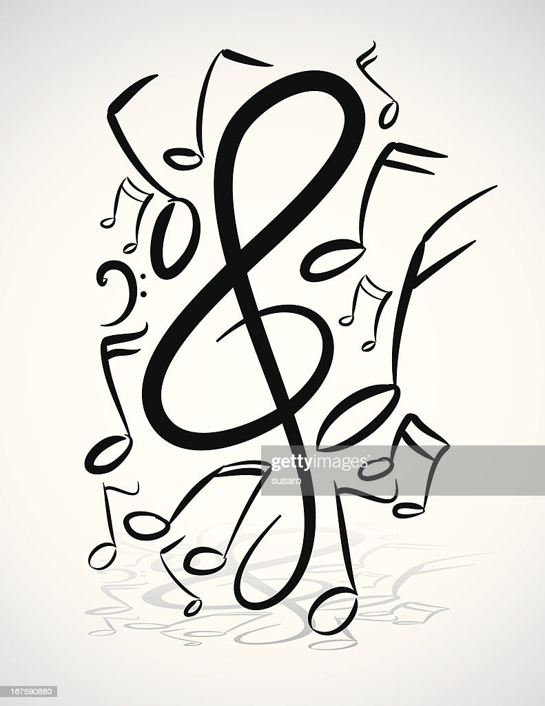 Freehand Music Notes Illustration : stock illustration