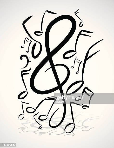 freehand musik notizen abbildung - treble clef stock-grafiken, -clipart, -cartoons und -symbole