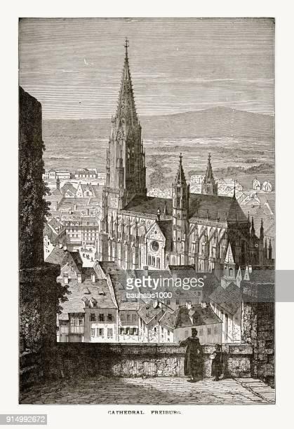 1887 年頃フライブルク、ドイツのフライブルク大聖堂 - フリブール州点のイラスト素材/クリップアート素材/マンガ素材/アイコン素材