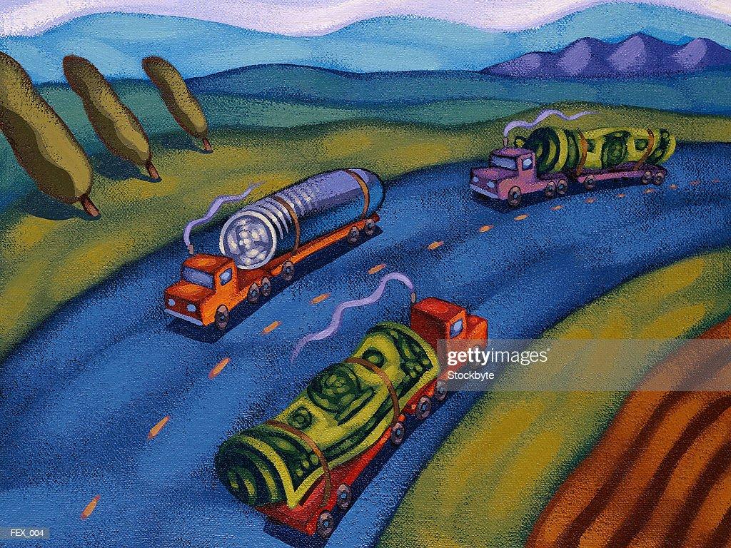 Freight trucks carrying dollar bills and coins : Ilustração