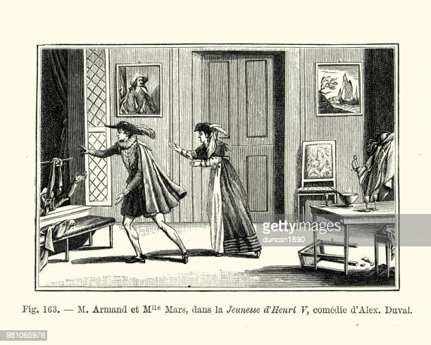 french actors on stage, comedy jeunesse d' henri v - theater industry stock illustrations, clip art, cartoons, & icons