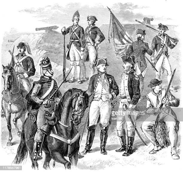 ilustrações, clipart, desenhos animados e ícones de uniformes franceses e americanos - american revolution