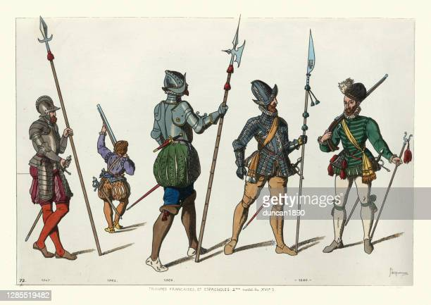 french and spanish soldiers of the mid late 16th century, military history - 16th century style stock illustrations