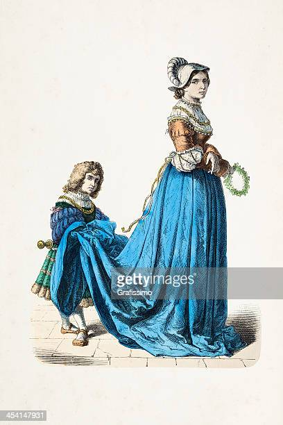 French aristocratic woman with gofer traditional clothing 16th century