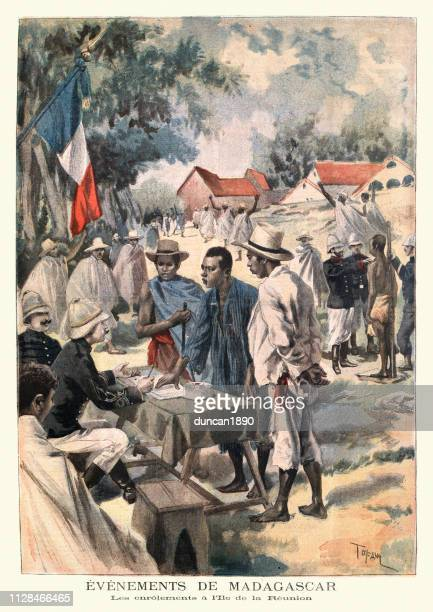 French army enlisting recruits on Reunion island, 1895