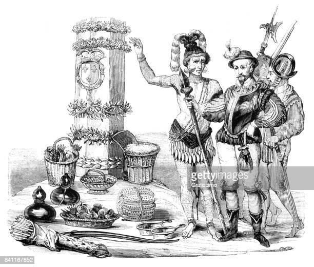 Frans conquistador Laudonniere omgaan met Indianen in Florida 1564