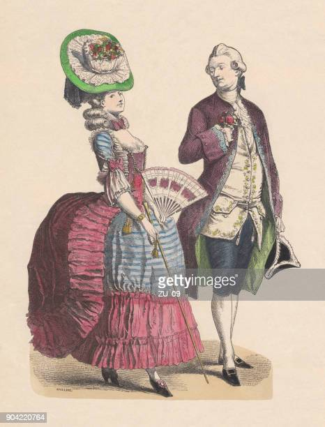 french costumes (1780), hand-colored wood engraving, published c. 1880 - 18th century stock illustrations