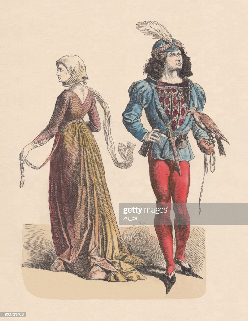 French costumes, last half of the 15th century, published c.1880 : stock illustration