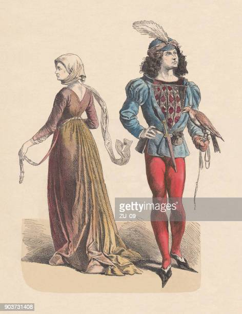 french costumes, last half of the 15th century, published c.1880 - falcon bird stock illustrations, clip art, cartoons, & icons