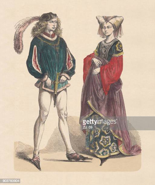 french costumes, last half of the 15th century, published c.1880 - circa 15th century stock illustrations, clip art, cartoons, & icons