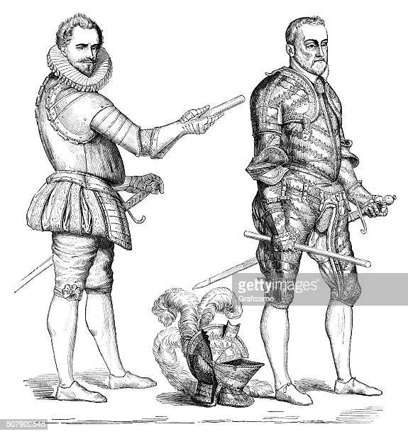 french duke in uniform and armour of 16th century - 16th century style stock illustrations, clip art, cartoons, & icons
