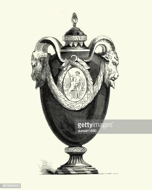 french enamelled earthenware vase - earthenware stock illustrations, clip art, cartoons, & icons