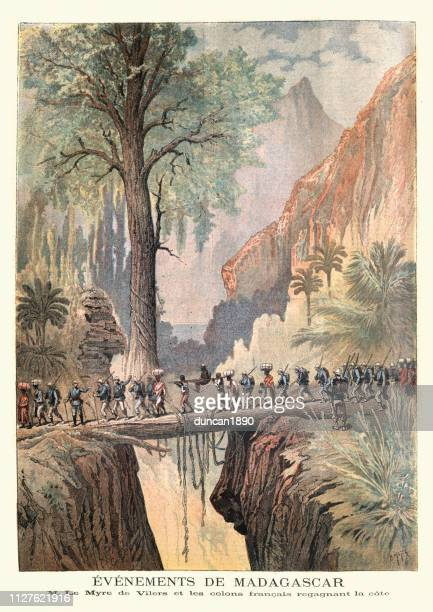 french explorers in the jungles of madagascar, 19th century - wilderness stock illustrations