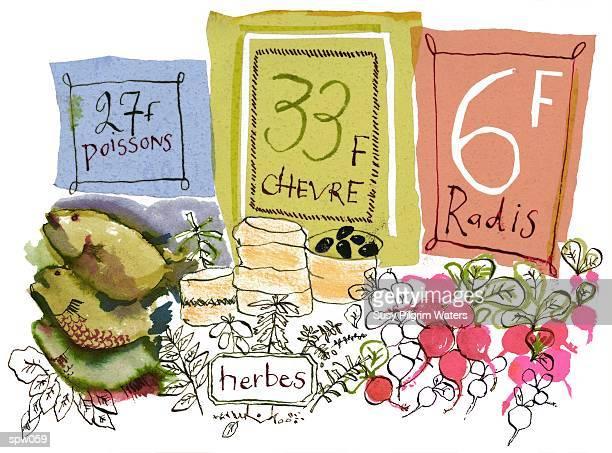 french farmer?s market - franc sign stock illustrations, clip art, cartoons, & icons