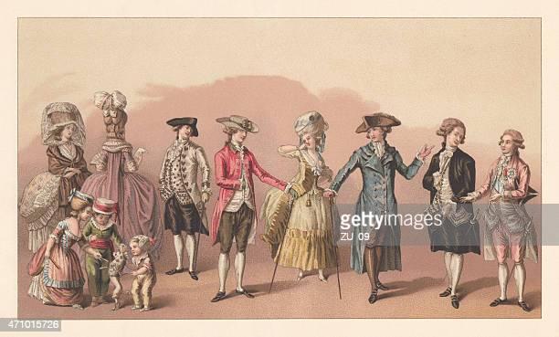 illustrations, cliparts, dessins animés et icônes de français la mode de louis xvi, la lithographie, publié en 1881 - louis 16