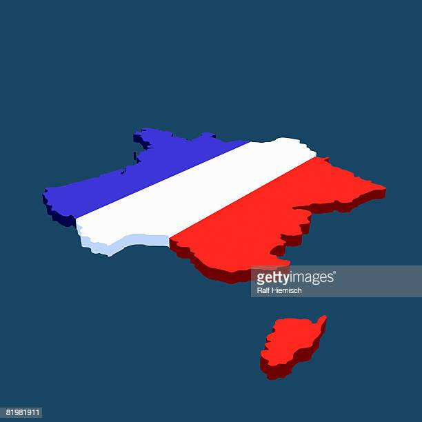 french flag in the shape of france - france stock illustrations