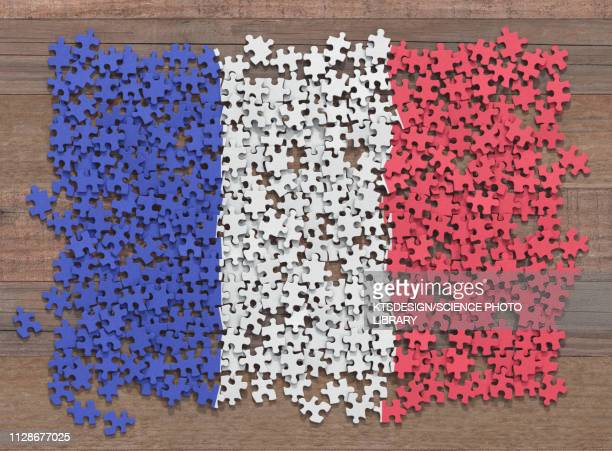 french flag jigsaw puzzle, illustration - france stock illustrations