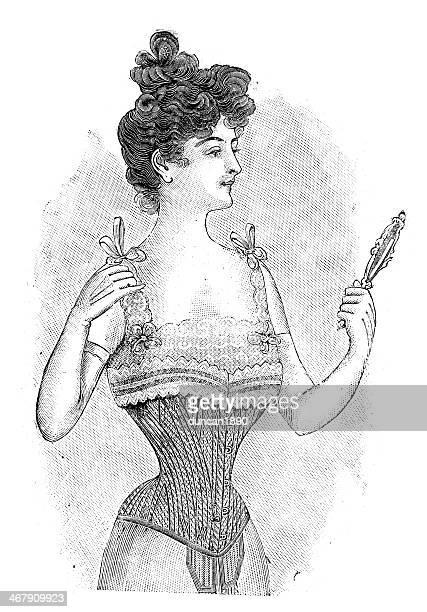 french girls 1900 - corset - en búsqueda stock illustrations