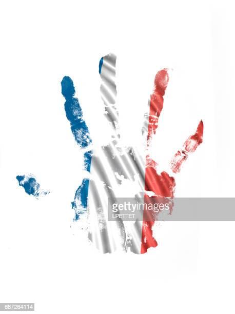stockillustraties, clipart, cartoons en iconen met franse hand print vlag - franse vlag