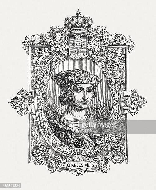 french king charles viii (1470 - 1498), published in 1878 - embellishment stock illustrations